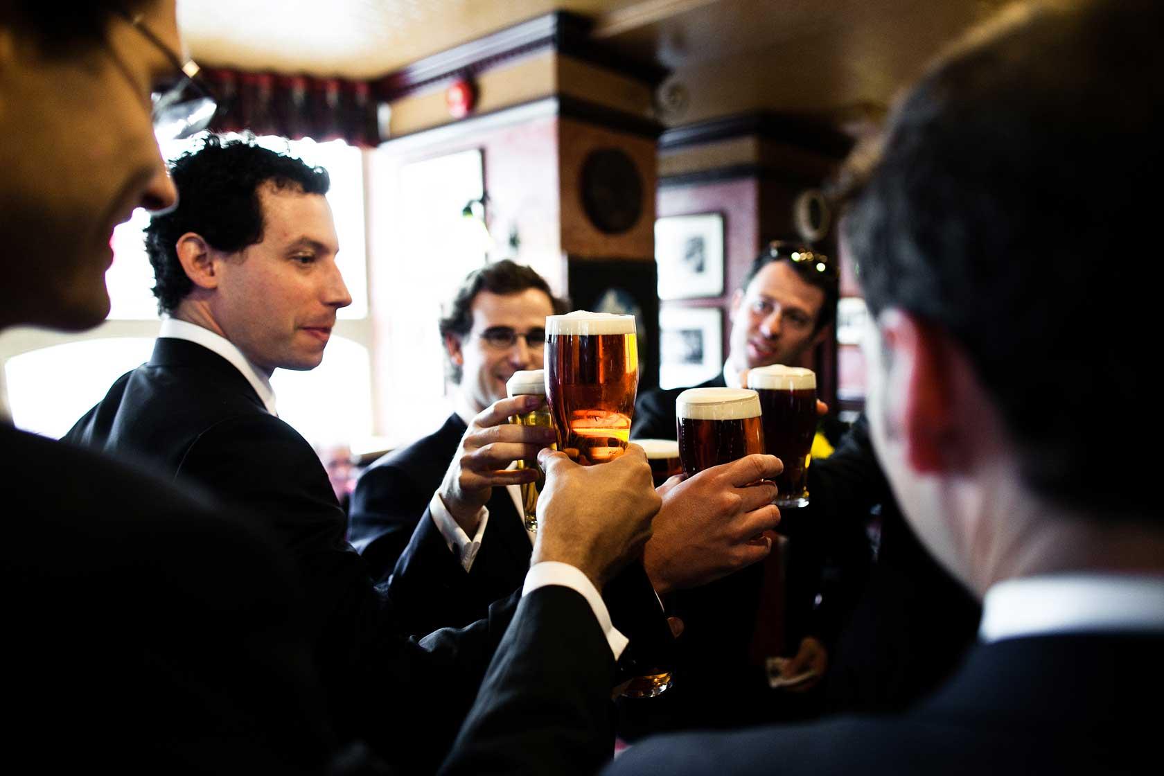 Pre-ceremony beers