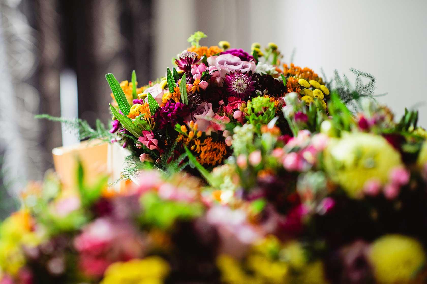 Colourful floral bouquets