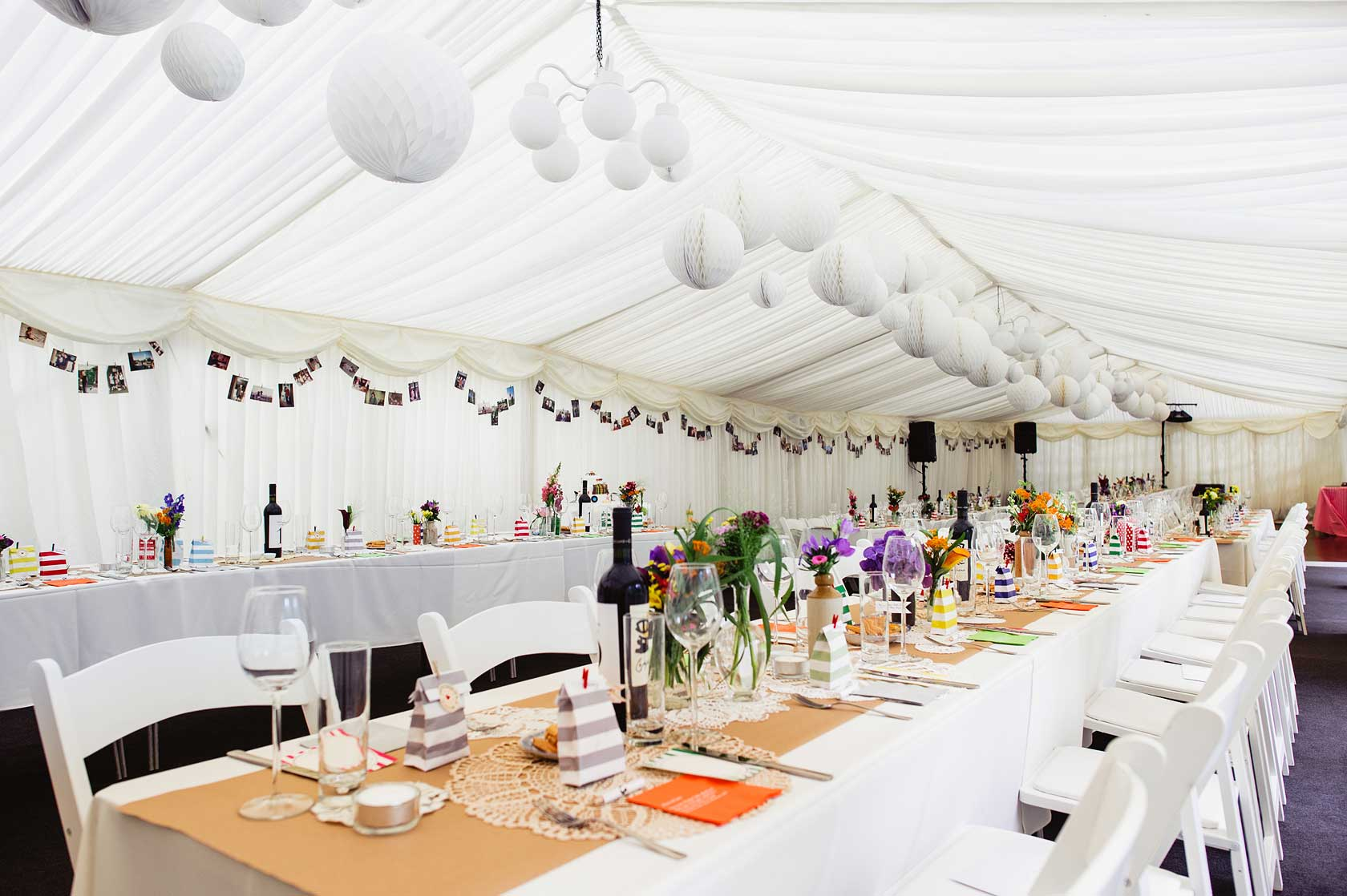 A marquee in a back garden