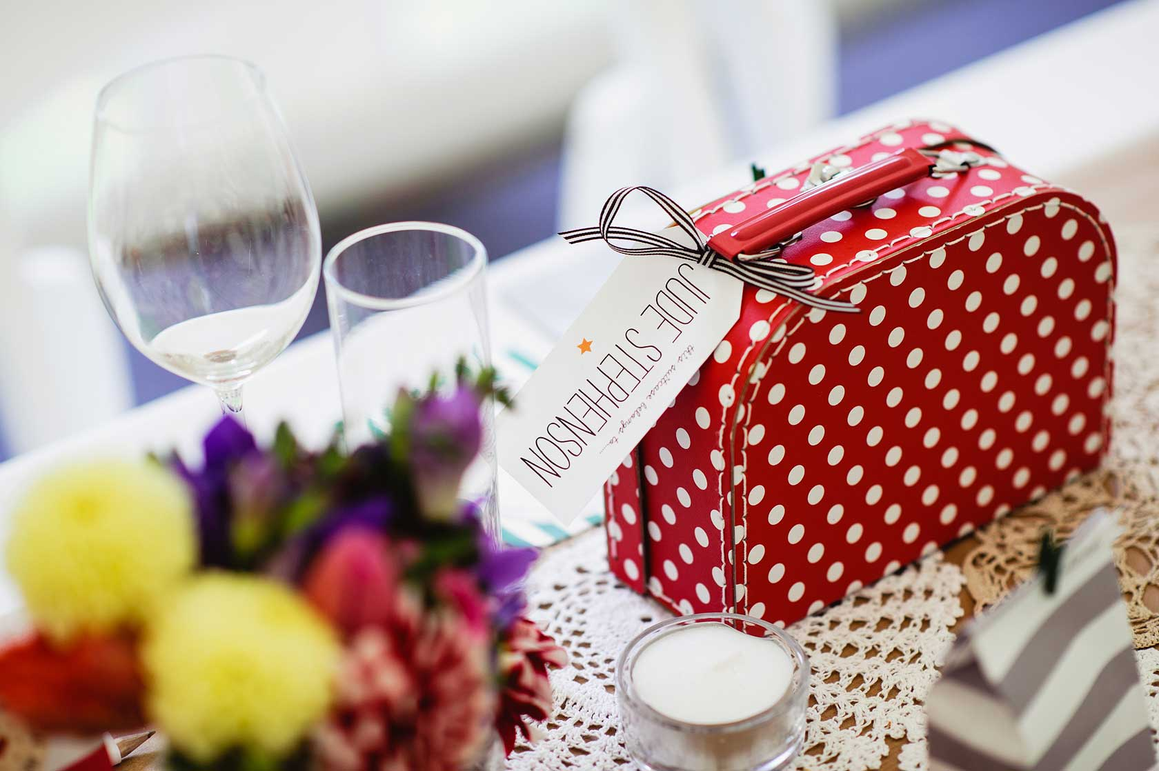A polka dot suitcase for a guest