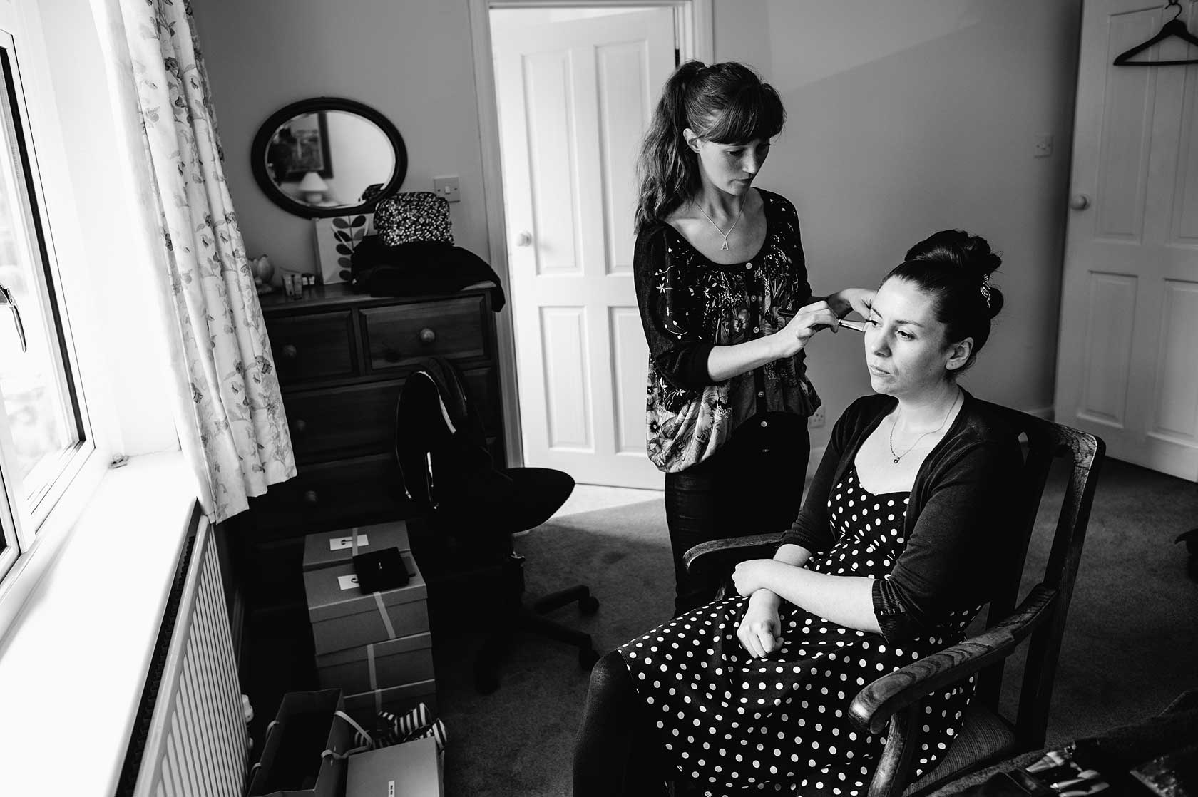 Bridal make-up being applied