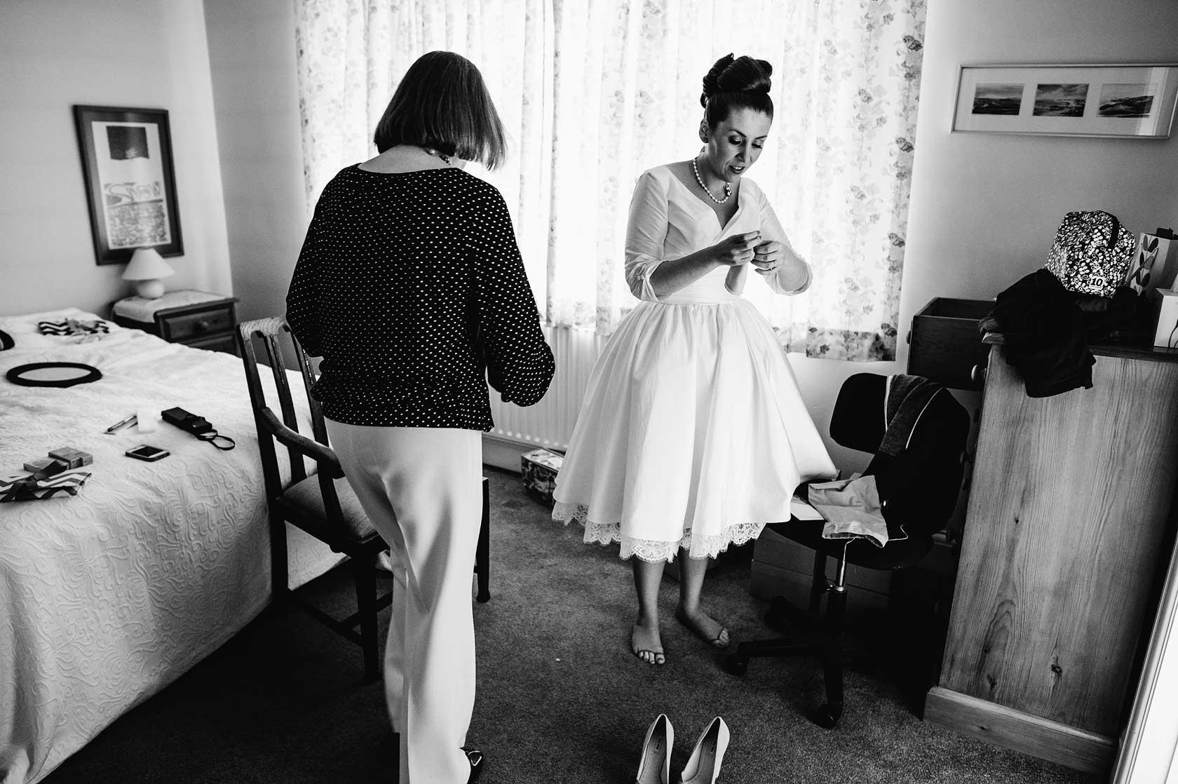 Last minute bridal preparations