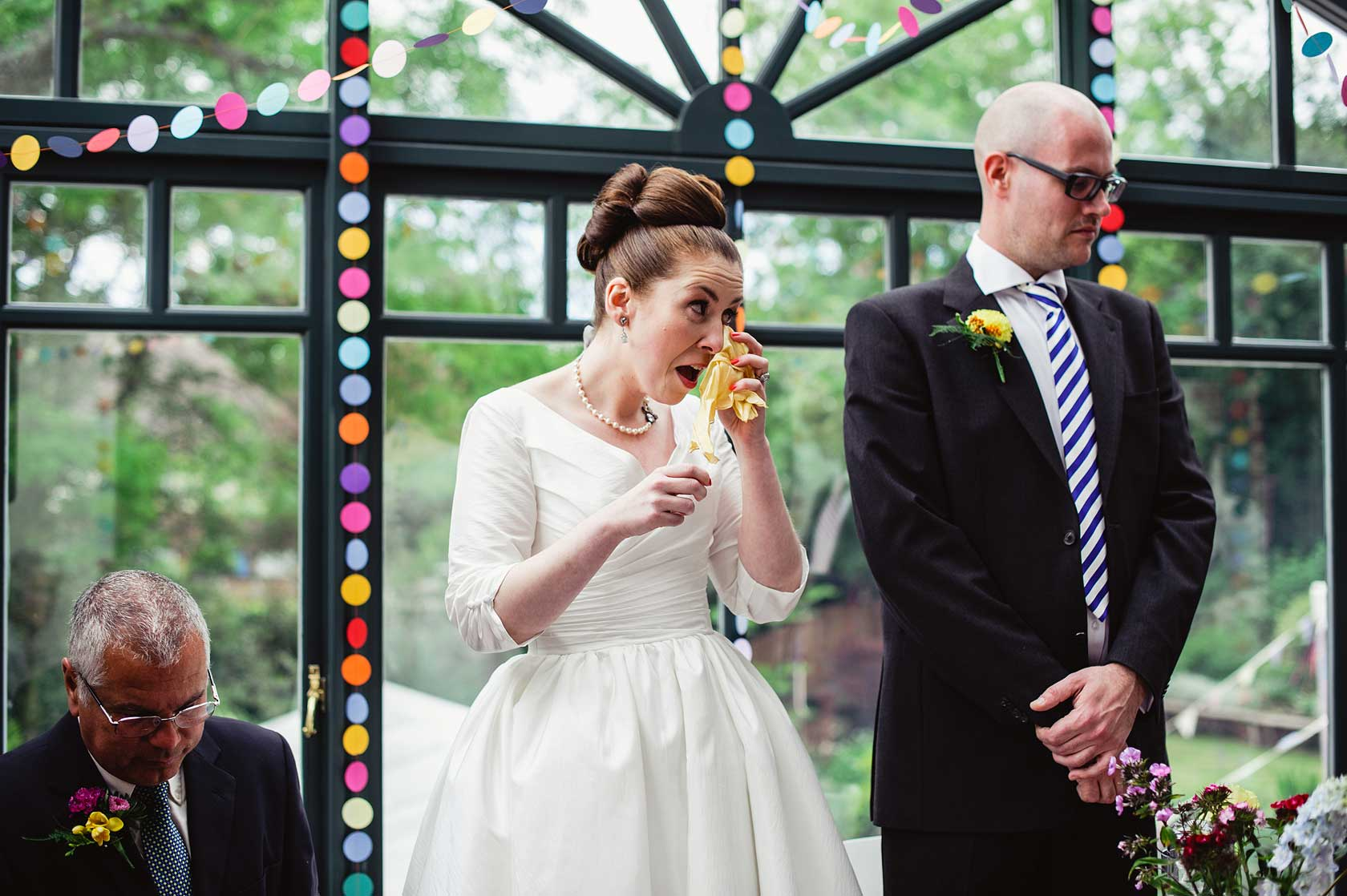 Tears at a civil ceremony