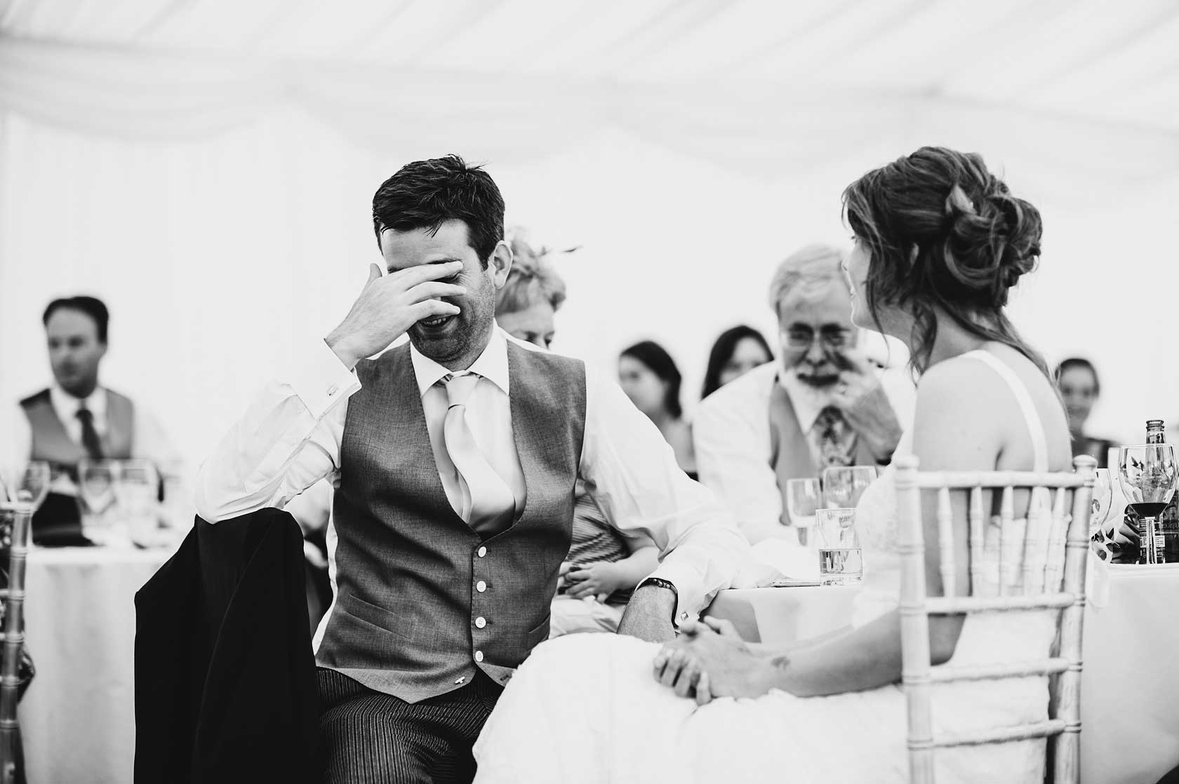Reportage Wedding Photography in a marqueeSt Marys Odstock