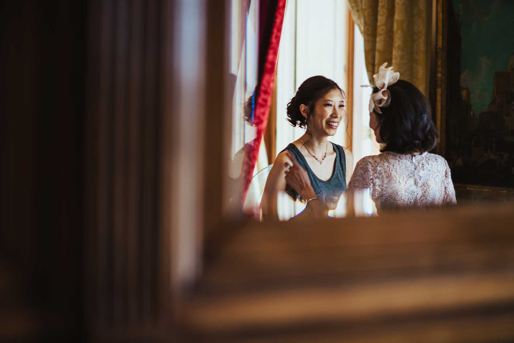 Bride and her mother at Buckinghamshire wedding venue