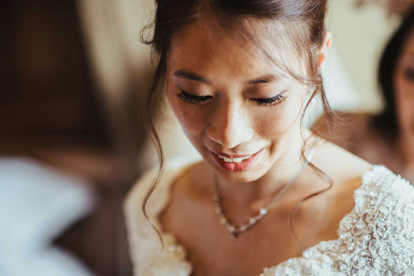 Beautiful bride in close up