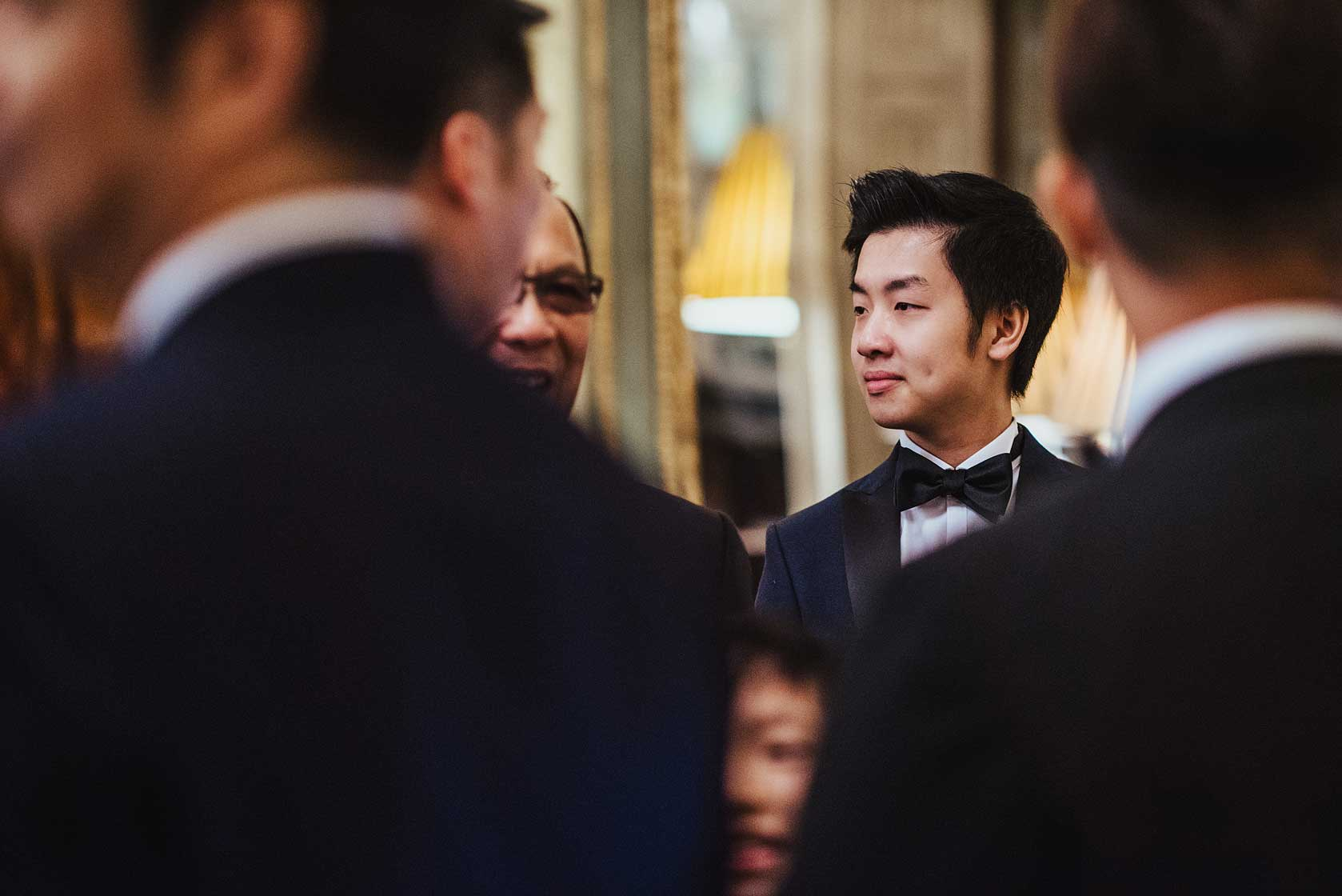 Smart wedding guest in black tie